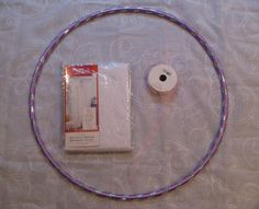 DIY Canopy Materials    One Hula Hoop, cost = $1.00 (mine had 22″ diameter)  Two* 84″ Long Sheer Window Panels (38″ W) $4.5ea  One 48″ piece of tulle ribbon  Hook to hang canopy, $1.00   $12 Total