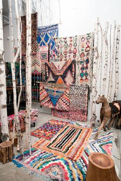 Mix of prints, colors and patterns in rugs