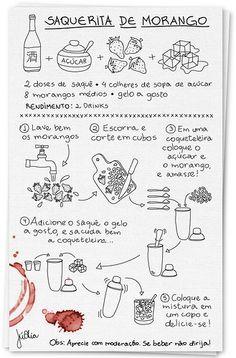 Receita Ilustrada: Saquerita de Morango  Illustration by Juliana Alia