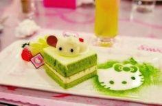 Matcha Hello Kitty hello kitti, hello kitty cake, green tea, cakes, teas, tea cake, food, kitti cake, hellokitti