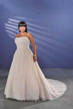 Hot Selling Plus Size Wedding Dresses A Line Strapless Court Train Lace USD 241.99 EPPNF3LSE2 - ElleProm.com         This is the one like the David Bridal one. I can get tailor made and in the right color -  For more amazing deals visit us at http://www.brides-book.com/#!brides-book-outlets/ck9l and remember to join the VIB Ciub