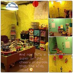 Unfinished basement playroom makeover