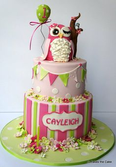 Pink and Green Owl Cake