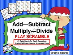 Add--Subtract--Multiply---Divide---Christmas Theme from Back to Basic Skills on TeachersNotebook.com -  (28 pages)  - 4 sets of task cards with Christmas graphics---180 in all