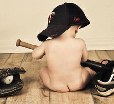Adorable little baby boy baseball dads shoes and hat #mortensonphotography