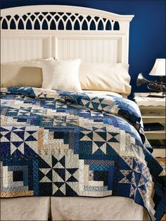 headboard, color combos, blue walls, quilt patterns, bed, star quilts, log cabins, log cabin quilts, blue quilts