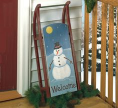 "Old Fashioned Sled    Make an old fashioned Welcome! It's easy to make from wood and our full-size pattern with complete instructions on cutting, painting and assembly. (approx. 31"" long X 12"" wide)"
