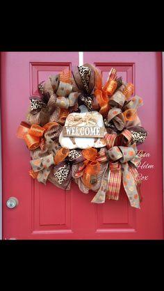 Burlap Deco Mesh Wreath with White Pumpkin & polka dot burlap ribbon
