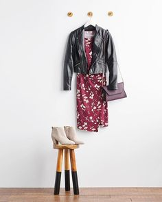 Sweater weather, make room for leather weather! Amp up your fall style by topping your favorite florals with an edgy moto jacket. #Stylist Tip
