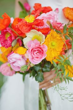 Brightly colored poppy bouquet