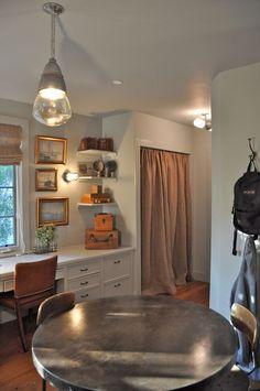 burlap & home depot drop cloth curtains...