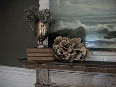 Mantle vignette from Full Bloom Cottage. --- beach cottages, mantl vignett, mantl decor, cottage decorating, cottag charm