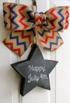 Patriotic Burlap Sign CHALKBOARD Star Door Hanging Red  Blue Chevron Bow Wreath 4th of July Independence Labor Day Door Decor Wreath Alternative Front Door Decoration #summertimedecor  #4thofjuly Chalk it Up Decor