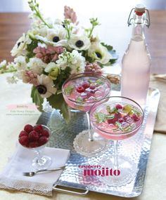 Raspberry mojito. Photo by Tammy Odell Photography. Florals by Cole Dewey Designs. #wedding #cocktail #editorial #mojito #raspberry