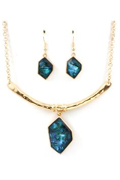 Sliced Josephine Necklace in Blue Vitrail
