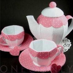 felt tea set pink and white