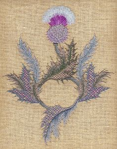 thistle embroidery, crewelwork, galleri, scottish thistl
