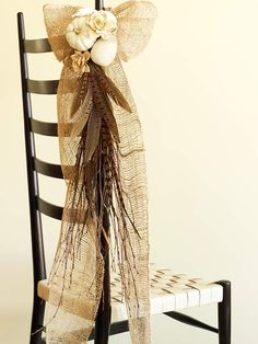 Neutral Nature Chair Decoration from Better Homes and Gardens. This would be -perfect- for the aisle at a fall wedding! so lovely...