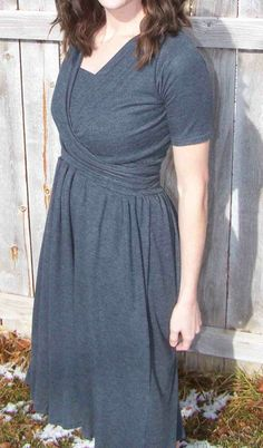 Two Piece Knit Wrap Dress: Tutorial with Pattern (via Made by Me. Shared with you)     My browny stretch sheer fabric?