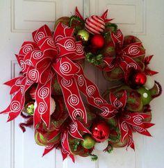 Whimsical Lime Green and Red Check Christmas Deco Mesh Wreath