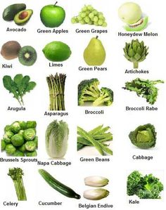 GREEN ~ Green fruits & vegetables have the phytochemicals sulforaphane and indoles, which both prevent cancer. They are also good for the circulatory system and have good vitamin B and minerals. Green vegetables also help with vision, and with maintaining strong bones and teeth. Some of the yellower green vegetables have carotenoids lutein and zeaxanthin that help to prevent cataracts and eye disease, as well as osteoporosis.