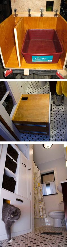 Self-ventilating Built-In Litter Box   27 Useful DIY Solutions For Hiding The Litter Box