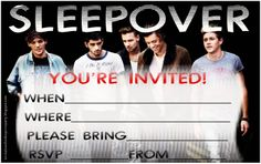 One Direction fans will love these free invitations to sleepover parties that feature 1D -  the group is made up of Niall Horan, Zayn Malik, Liam Payne, Harry Styles and Louis Tomlinson  and two of the invitations show Harry and Zayn as a special feature. If you are having a One Direction sleepover party where you are going to watch their videos and play their music and maybe do a bit of karaoke - then these 1D invitations are free and perfect for One Direction fans.