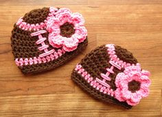 Crocheted Baby Girl Twin Hat Set, Football/Baseball, Sport Theme Hats with Flowers, Twin Girl Baby Gift, Newborn to 24 Months, MADE TO ORDER