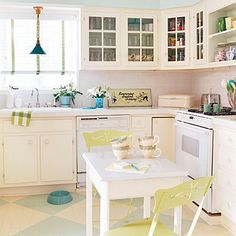 Coastal Living kitchen that so closely resembles our layout. Love the glass cabinets and open shelving!