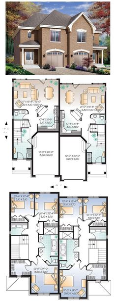 Two family house plans on pinterest house plans duplex for 2 family house plans