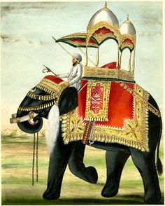 Painting on paper of a decorated elephant with a howdah on its back. Asia, early 19th Century