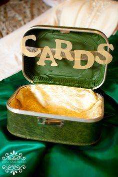 business cards, vintage suitcases, vintage weddings, emerald, wedding ideas