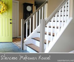 Staircase Makeover - 3 posts with full details on How-To go from carpet to wood!  Easy to follow and doable for a novice Do It Yourselfer!