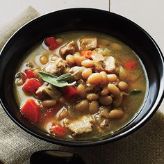 Quick-Cooking Classic Soups | Pork and Herbed White Beans | MyRecipes.com