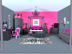 Needs a bit more zebra print and it would be an awesome bedroom for a teen or young adult/ but make the pink purple!