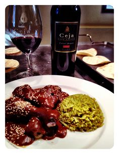Chicken mole + cilantro rice + Ceja Vineyards 07 Cabernet. Yes, please!