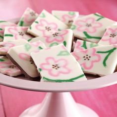 Cherry Blossom Pattern Candy Bark - Piping designs as part of a molded candy plaque is an easy and exciting way to decorate with Candy Melts...