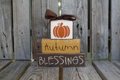 Autumn Blessings with Pumpkin  Wood Block Set Primitive Fall Autumn Thanksgiving Gift seasonal home decor Country Wood Sign. $17.95, via Etsy.