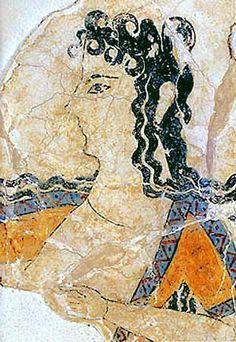 Minoan Dancer Fresco Art from Knossos, Crete, Greece