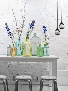 Sunday Bouquet: Branches in Recycled Glass Jugs - | style carrot |