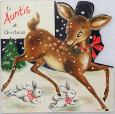#1751 50s Hallmark Glittered Deer & Rabbit-Vtg Diecut Christmas Card-Greeting