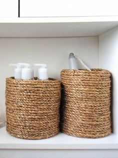 Great #DIY Home Decor Ideas.... wrap an ordinary empty coffee can with glue & jute/rope to store toiletries.