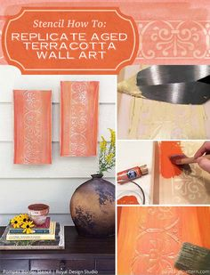 Stencil How to: Replicate Aged Terracotta Wall Art with Raised Pattern Design with Wood Icing and Royal Design Studio stencils | Paint + Pattern