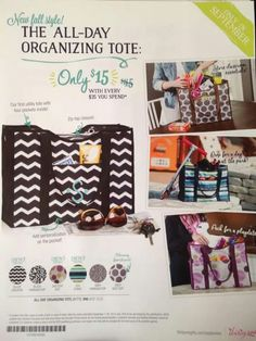 FALL 2014 All-Day Organizing Tote September Special, Only $15.00 with every $35.00 you spend. Join my FB group, just click the pic.
