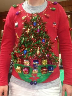 """Ugly Christmas Sweater I made for my husbands Christmas party- needing ideas for a FUN Ugly Christmas Sweater Party check out """"The How to Party In An Ugly Christmas Sweater"""" at Amazon http://www.amazon.com/Party-Christmas-Sweater-Simple-ebook/dp/B006PGBRDW/ref=sr_1_3?ie=UTF8=1354124434=8-3=the+how+to+party+in+an+ugly+christmas+sweater"""