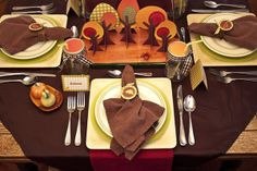 Adorable table setting for Thanksgiving!  I love those trees!