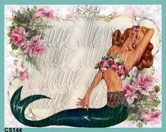 Pinup Girl Mermaid Quilts Applique Mermaid by mermaidfabricshop, $6.99