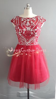 Short Red Bead Tulle Prom Dress Straps Knee-length V-back Graduation Dress Formal Dress Party Dress Homecoming Dress 2014