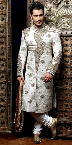 So Rajasthani Inspired detailed work on Sherwani idea, asian style, dream, design sherwani, white, men fashion, fashion inspir, groom wear, embroidery