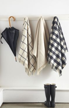 gingham scarves blanket, umbrella, mud rooms, general store, fall essentials, scarv, christma, black, entryway